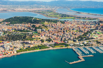 Aerial view of the city of Cagliari