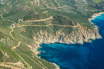 Aerial view of Mediterranean coast of Sardinia