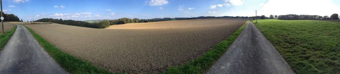panorama of a country road in Germany