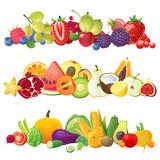 Fototapety fruits vegetables and berries borders