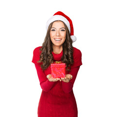 Beautiful young woman holding a present