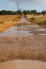 Camino de Tierra Encharcado por la Lluvia