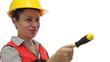 Smiling Female Worker Passing Screwdriver
