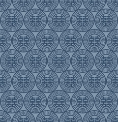 Blue Colors Round grid Pattern. Korean traditional Pattern Desig