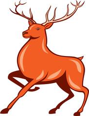 Red Stag Deer Side Marching Cartoon