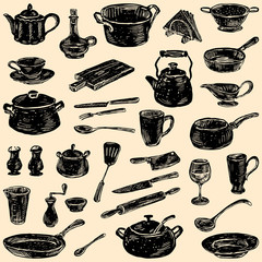 silhouettes of the kitchenware