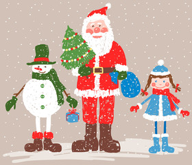 Santa Claus withe the friends
