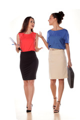 two young business women chatting