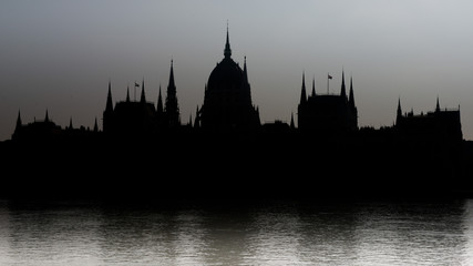 Silhouette of the Parliament of Budapest