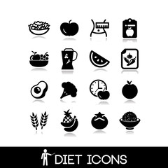 Diet and nutrition icons