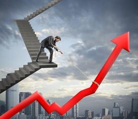 Businessman helps company statistic