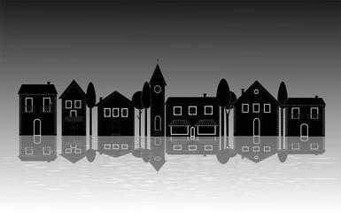 illustrazione di villaggio sul fiume