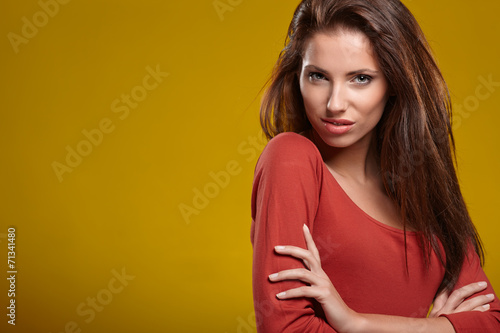canvas print picture Beautiful high fashion model in autumn clothes posing