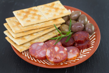 sausages with olives on plate