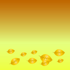 Vector illustration of orange and yellow fallen leaves