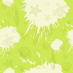 Marine algae,seamless pattern green