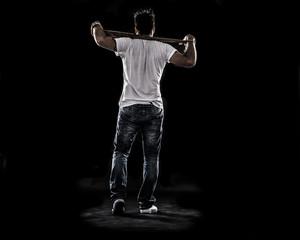 Boy Walking away , see from behind , baseball bat