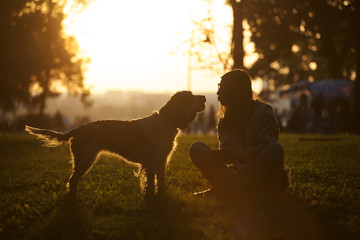 Girl And Dog On Grass At Sunset In Park