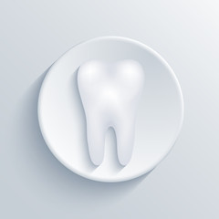 Vector modern tooth light circle icon.