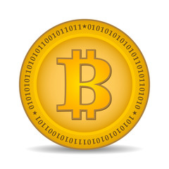 golden bitcoin coin with binary numbers