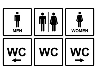 Male and female WC icon denoting toilet and restroom facilities