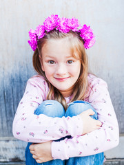 Outdoor portrait of adorable little girl