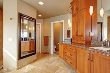 Luxury bathroom with large storage combination and granite tops