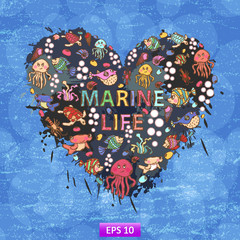 Marine life heart background