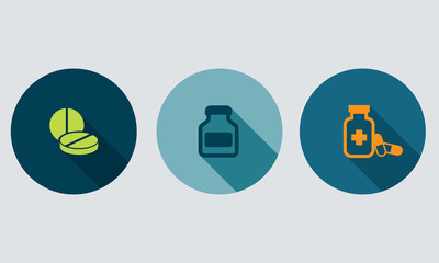 Pharmacy icons and medication vector icons set