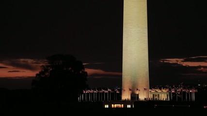 Washington Monument at sunset night