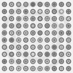 Car wheel set. Rims icons