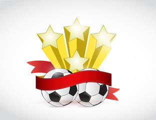 soccer champion ribbon illustration