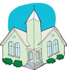 Green Church Drawing