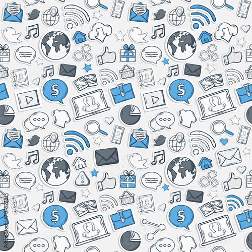 Blue Sticker mobile apps pattern © AldanNa