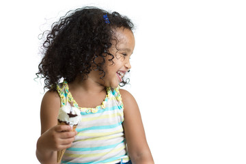 Kid eating ice cream looking aside isolated