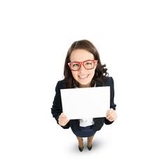 Woman presenting something