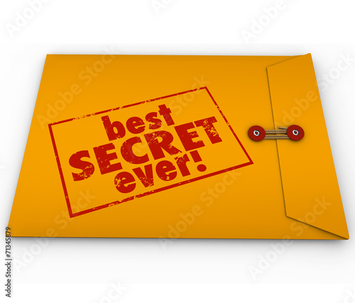canvas print picture Best Secret Ever Yellow Envelope Confidential Information Rumor