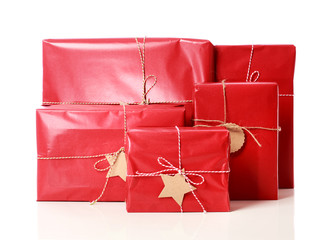 Red gift boxes with tags