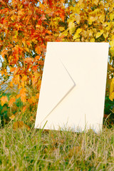 letter on the autumn background