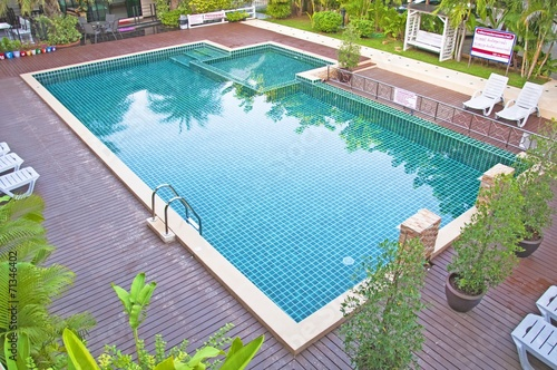 Swimming pool and garden at resort