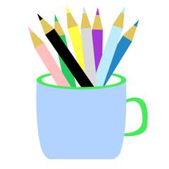 カップに入った色鉛筆