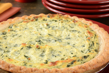 quiche and serving plates
