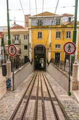 LISBON, PORTUGAL - APRIL 1, 2013: Famous Bica funicular (Elevado