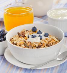 Muesli with yogurt . Healthy breakfast .