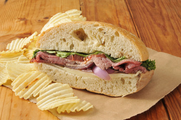 Gourmet roast beef sandwich