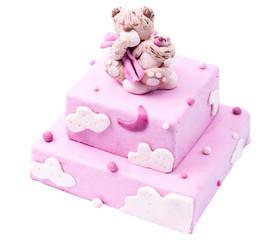 Handmade pink multistory cake