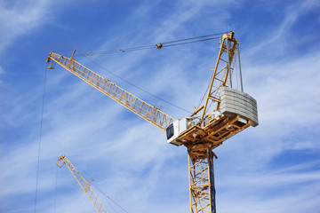 construction crane working  with blue sky