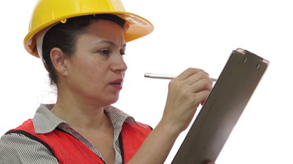 Woman Construction Worker Clipboard Marking