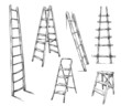 Ladders drawing, vector illustration - 71347825