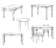 set of hand drawn tables, vector illustration - 71347829